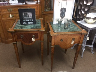 Green Marble Top End Tables