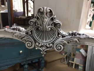 Shaped Ornate Mirror in Distressed White
