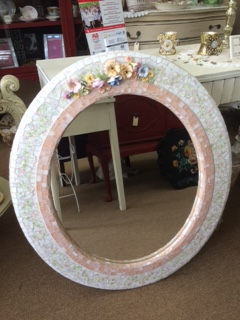 Hand Made Round Mosaic Mirror with Porcelain Flowers