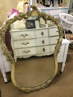 Shaped Vintage AGED Mirror with Flowers