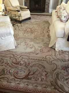 11  X  14  Taupe and Pink Aubusson Rug