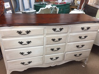 12 Drawer French Provincial Dresser with Refinished Top