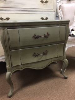 2 Drawer French Provincial End Table Night Stand in Soft Olive