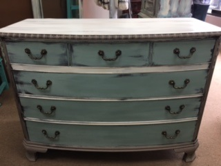 4 Drawer Dresser in Creme Sea Glass Green and Taupe