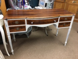 5 Drawer Desk ..  Refinished Top and Drawers... Creamy White Base