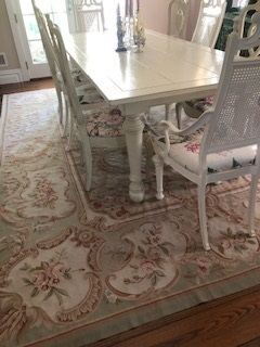 9 x 12 Aubusson Rug in Sage/Pink