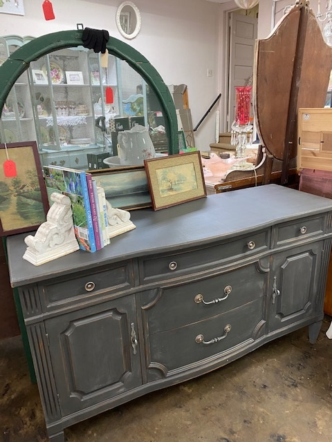 """58"""" Sideboard  TV Console in Charcoal Grey Chalk Paint"""