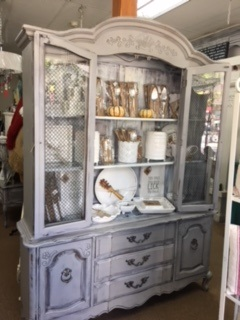 French Provincial China Cabinet... Hutch..  Display Case in Soft Grey