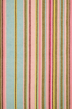 Cotton Stripe Throw Rug .. Pink and Brown Combo