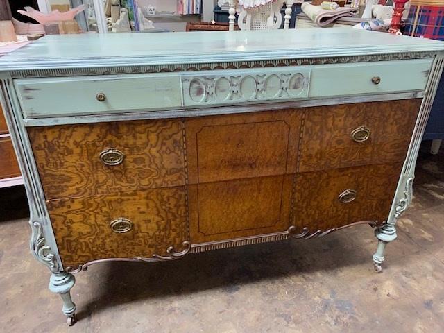 Depression Dresser with Burl Wood Drawers