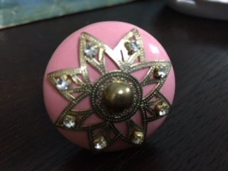 PINK WITH GOLD FILAGREE AND RHINESTONES