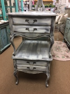 Set of Distressed French Provincial End Tables Night Stands