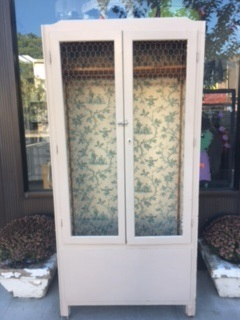 Vintage Armoire lined with Wallpaper