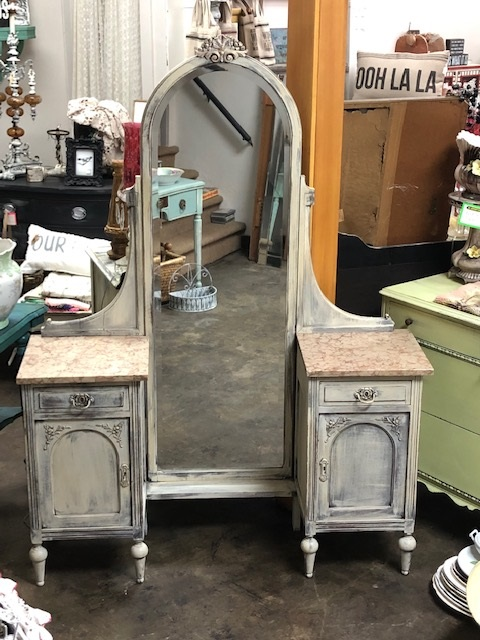 Amazing Vanity with Pink Marble Tops and Full Length Mirror