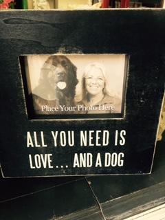BOX FRAME..  LOVE AND A DOG