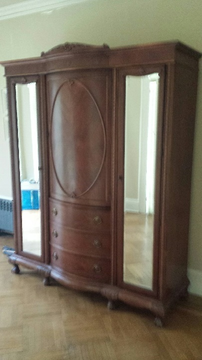 Large Armoire with Mirrored Side Doors