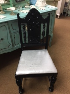 Black Lacquer Chair with Silver Leather (like) Seat