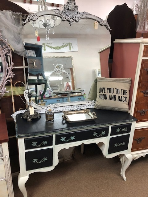 Black and White French Provincial Writing Table..  Desk... Vanity