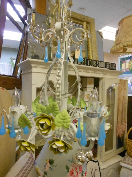 White Chandelier with Turquoise Crystals