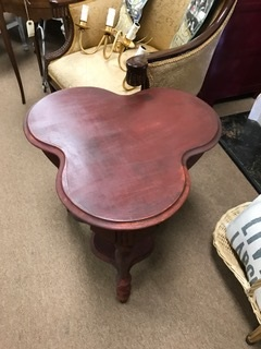 Clover Shaped Table in Distressed Red