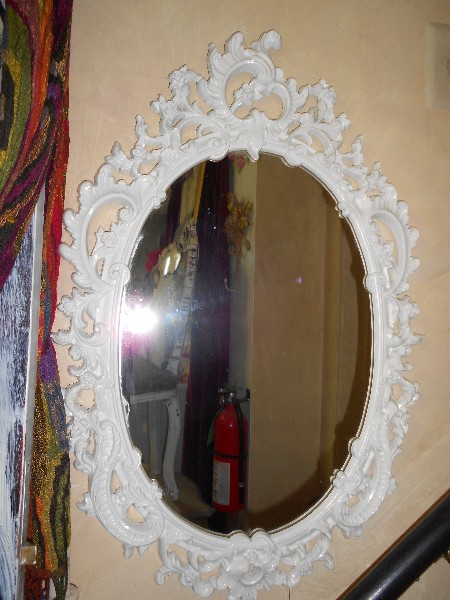 Creamy White Oval Ornate Mirror