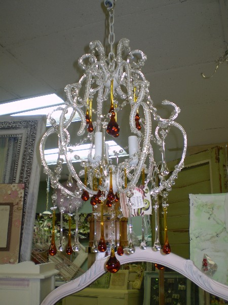 Crystal Chandalier with Topaz Teardrops
