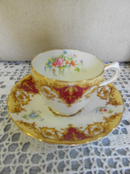 Cup and Saucer ...  Burgundy and Gold