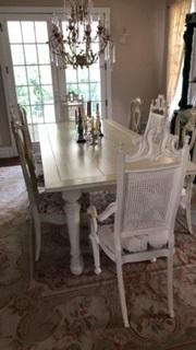 8 Foot Custom Farm Table and 8 Chairs