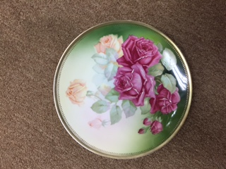 Decorative Plate in Green with Pink Roses (1)
