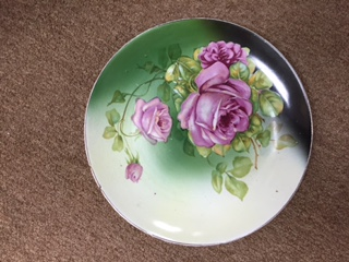 Decorative Plate Green with Pink Roses (2)