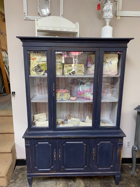 Distressed Navy Small China Cabinet... Book Case... Display Case