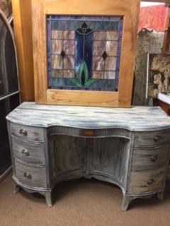 6 Drawer Desk...  or Vanity....  with Curved Door Storage Cabinet