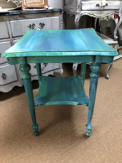 Square End Table / Nightstand.. layered in shades of blue and green