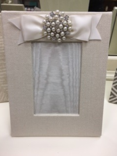 Hand Made Fabric Frame with Pearl Bow at Top