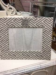Hand Made Fabric Frame in Grey/White Zig Zag