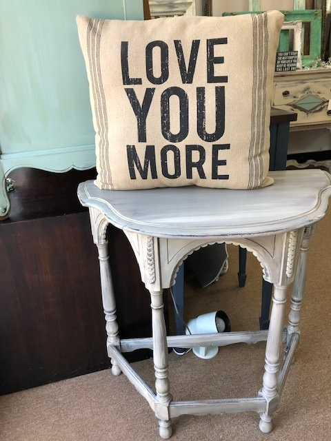 Flat Back Table in Shades of Creme..Taupe..and Grey