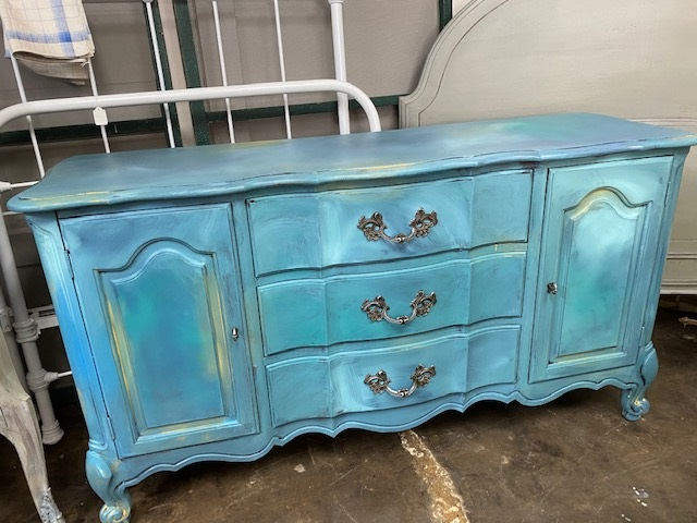 French Provincial Color Washed Sideboard  Buffet  TV Console