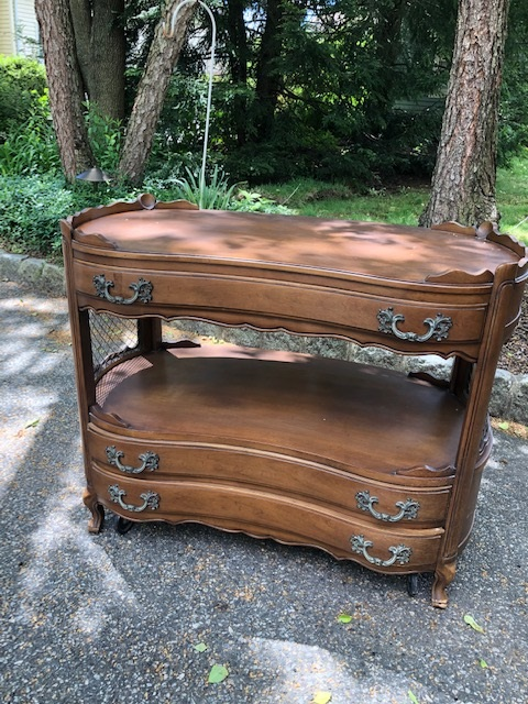 3 Drawer French Provincial Rolling Bar