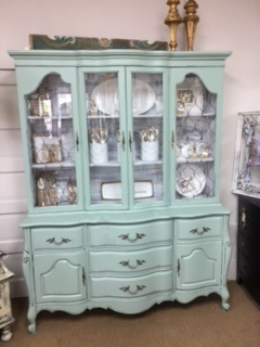 French Provincial China Cabinet in Sea Glass Green