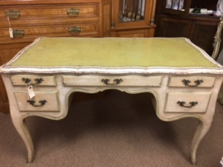 French Provincial Desk with Green Leather Top