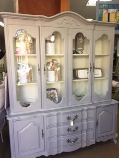 Large French Provincial China Cabinet Hutch