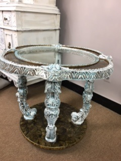 Glass Top Distressed Ornate Table
