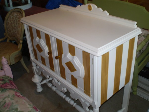 Gold and Ivory Stripe Sidboard