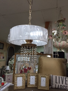 Small Gold Chandelier with Crystals and Round String Shade