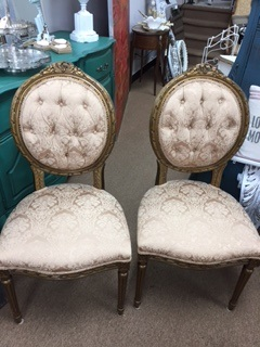 Gold Tufted Round Back Chairs with Gold Damask