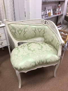 Green Damask Cane Back Chair