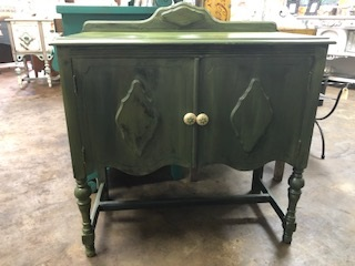 Small Sideboard in Charcoal/Chartreuse Chalk Paint