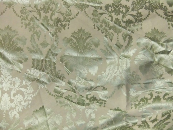 Green on Taupe Damask