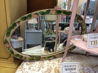 Oval Mirror with Floral Border