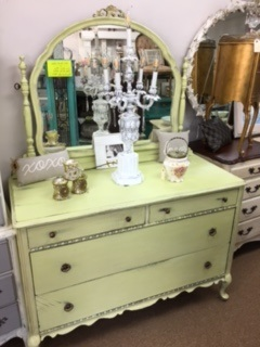 Vintage Dresser with Swivel Mirror in Iced Lime